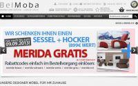 Screenshot der aktuellen Belmoba.de Aktion Gratis Sessel beim Kauf eines Sofas