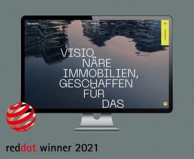 Die Website vom Projektentwickler Bauwerk wurde mit dem Red Dot Design Award 2021 ausgezeichnet. (© Bauwerk)