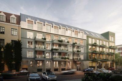 VINZENT ist das erste Holzhybrid-Ensemble für Wohnen und Office im Münchner Innenstadtgefüge.  (© Bauwerk)