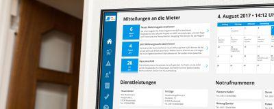 Die digitale Haustafel für das Treppenhaus erweitert die Serviceplattform mieterportal24.net