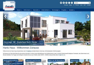 In modernem, klarem Design präsentiert sich der neue Internetauftritt von Hanlo. (Foto: Hanlo Haus)