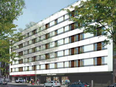 Die Fassade erstrahlt in neuem Glanz - Ansicht Kaiserswerther Straße 270 mit 42 neu entstandenen Wohnungen