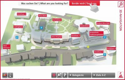 Alice-Hospital; Screenshot vom interaktiven Guide3D-Lageplan