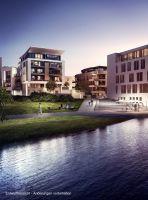 """Das Bauprojekt Port PHOENIX verbindet die beiden Themen """"Wohnen am Wasser"""" sowie """"Wohnen in der Stadt"""". Visualisierung: INTERBODEN"""