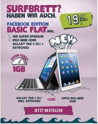 """Ab sofort liefern Tablets und der brandneue Datentarif """"Basic Flat"""" noch mehr Spaß beim mobilen Surfen"""