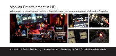 Videoregie, bis zu 4 HD Kamerazüge mit Intercom, Aufzeichnung in HD, Internetstreaming und Multimedia-Server für Content