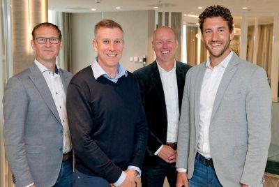 Partner für zuverlässiges Datenmanagement: Eric Evers, DMP, Bruce Park und Clement John de Leeuw, Commvault, Maurice Pastoor DMP