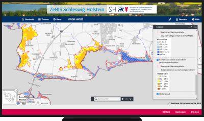 Ausschnitt einer Hochwassergefahrenkarte für ein 200-jähriges Hochwasser, Portal ZeBIS Schleswig-Holstein auf Basis von Cadenza