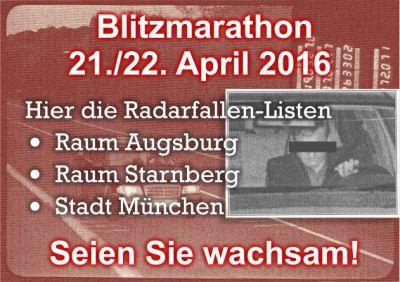 Praktische Messstellen-Listen für Autofahrer, die am 21./22. April nur in München, Augsburg oder Starnberg  unterwegs sind.