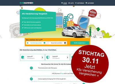 Bildschirmkopie aus der Startseite von www.evbnummer1.de