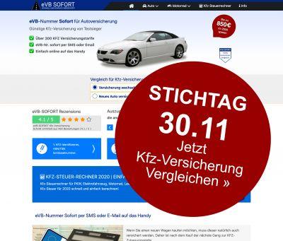 Bildschirmkopie aus der Startseite von evb-sofort.com