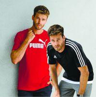 Ab 16.8. glänzt das deutsche Textilunternehmen NKD mit zwei Markenstars: Shirts von Adidas und Puma zum Aktionspreis von 9,99 €.