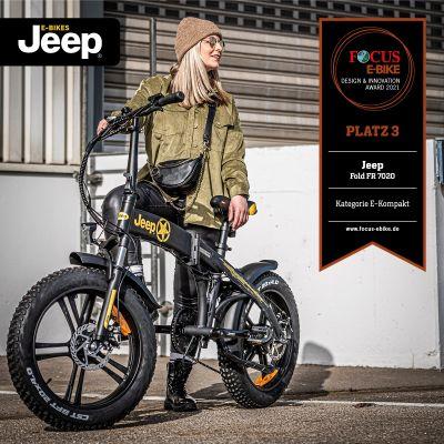 Das Jeep Fold FAT E-Bike FR 7020 wurde beim FOCUS Design Award 2021 mit Platz 3 in der Kategorie Kompakt ausgezeichnet.