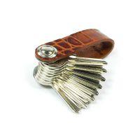 Keylino Leder Schlüsselbund mit Krokoprägung, cognac glänzend