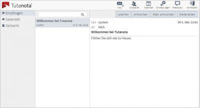 """Tutanota Free: übersichtlich und einfach. Karsten freut sich: """"Danke für diese Innovation auf dem Wege zu sicherem Mailen!"""""""