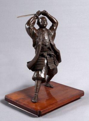 Auktion Japan Meiji-Zeit Samurai in Bronze