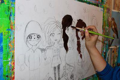Manga-Zeichnen in einem Ferien-Malkurs der Malschule Friedenau