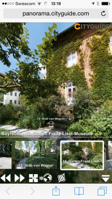 Im Bayreuth CITYGUIDE können Wagners Spaziergänge in der Stadt und Sehenswürdigkeiten als virtuelle 360° Tour erlebt werden.