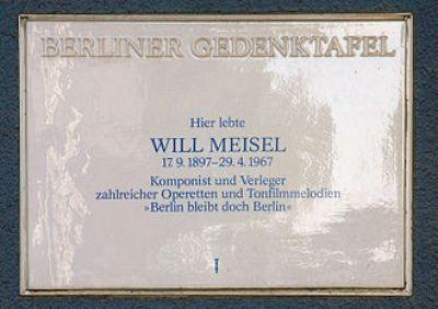 Gedenktafel für Will Meisel in Berlin