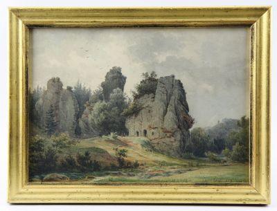 Externsteine, Aquarell des Detmolder Malers Menke von 1849.