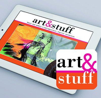 APP-Icon aus dem googleplaystore und apple APP-Store, Tablet mit der ersten Ausgabe der art&stuff