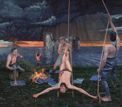 Aris Kalaizis - Das Martyrium des Hl. Bartholomäus oder das doppelte Martyrium - Öl auf Leinwand - 250x285 cm - 2014/15
