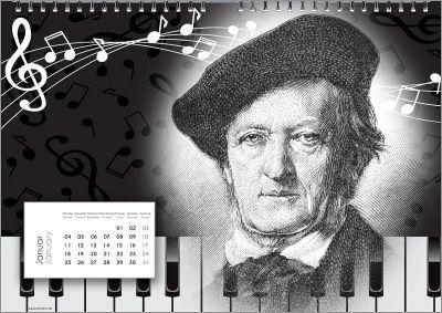 Wagner im Komponisten-Kalender. 11 weitere Spitzen-Komponisten in einem der Stile der unterschiedlichen beteiligten Künstler.
