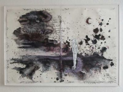 Laura Flöter:  Unterm Rosenmond wachsen allen Fährten Dornen - 53 x 77 cm; malerische Graphik