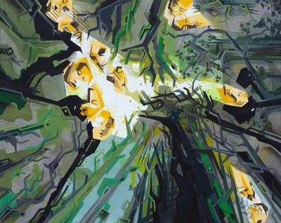 """Johanna Creutzburg, Titel """"Wald"""", Format: 40 x 50 cm, schwarzer Holzrahmen inkl. Passepartout, Auflage: 50, 2013,  Preis: 99 Euro"""