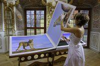 SAFARI - The Fine Art Book von Benny Rebel ist aufgeschlagen 200 x 70 cm groß und wiegt 60 KG