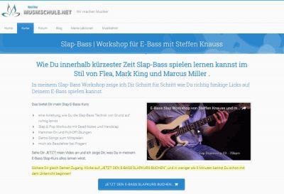 Screenshop vom Slap-Basskurs von www.meineMusikschule.net und Steffen Knauss