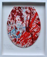 """Kunstwerk und Collage """"Die große Diarrhoe"""" in der Justiz bzw. """"Justiz-Lokus"""" vom Maler und Bildhauer Cornelius Richter, 2014"""