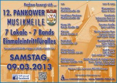 Sieben Bands in sieben Lokalen - bei der 12. Pankower Musikmeile am 9. März 2013