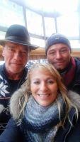Bernd Roberts, Managerin Christine Christel und Arnold Schwarzenegger (v.r.n.l.)