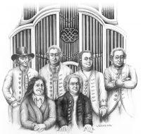 Die Bachs: vorne Johann Ambrosius und Johann Sebastian. Hinten stehen 3 Bach-Söhne und links der Cousin (mit Hut).