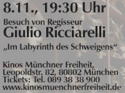 """Regisseur Giulio Ricciarelli stellt """"Im Labyrinth des Schweigens"""" vor Münchner Freiheit, 8.11., 19:30 Uhr"""