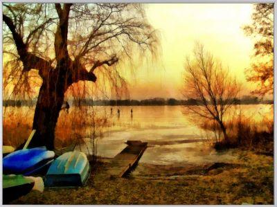 """""""Winter Boats"""" - Marina Kaehne Fine Arts"""