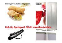 """Macht lecker Werbung mit kleinem Aufwand: Roll-Up Display """"Springroll"""""""