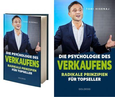 """Buchcover: """"Psychologie des Verkaufens"""" von Verkaufstrainer, Coach, Keynote Speaker Unternehmer und Hochschuldozent Toni Hisenaj"""