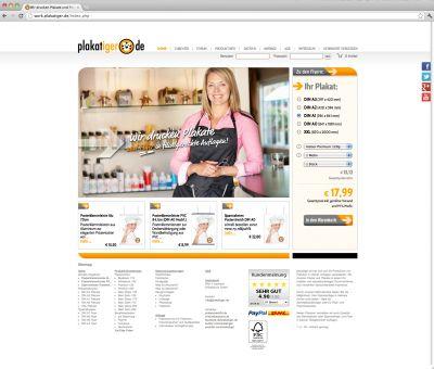 Die aktuelle Shopansicht der Internetdruckerei plakatiger.de