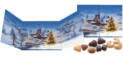 Der individuell bedruckte Adventskalender Panorama, gefüllt mit Lebkuchen, Dominosteinen oder Weihnachtskeksen