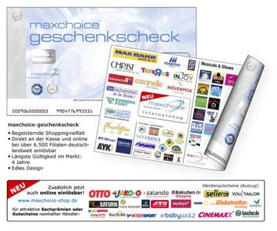 maxchoice-geschenkscheck, jetzt auch online einlösbar