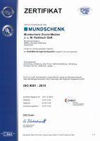 Zertifikat MUNDSCHENK Druck+Medien Qualitätsmanagement ISO 9001:2015