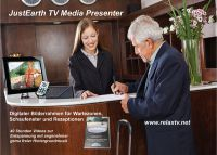 Der JustEarth Media Presenter passt in jede Ecke. Einfach anschalten und los geht es.