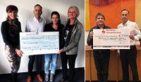 Spendenübergaben von je 2.500 EUR durch Boris und Miriam Beermann (Mitte Bild 1) und Boris Beermann (rechts Bild 2)
