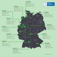 Übersichtsgrafik zu den bisherigen schwerwiegenden Tiertransporter-Unfällen 2019 in Deutschland.