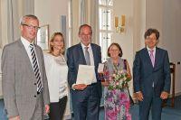 Staatssekretär Guido Beermann, Astrid Vieth (SIBB), Dr. Ortwin Wohlrab mit Ehefrau u. SIBB-Vorstandsvorsitzender, Christian Köhler