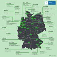 Übersichtsgrafik aller registrierten Unfälle mit Tiertransportern 2019