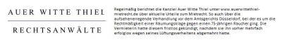 Auer Witte Thiel: Geruchsbelästigung durch Zigarettenrauch rechtfertigt Kündigung
