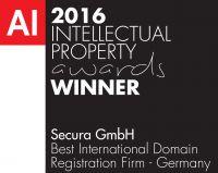 Secura GmbH erhielt Preis für ausgezeichnete Leistungen bei der Registrierung von Domains für Markeninhaber
